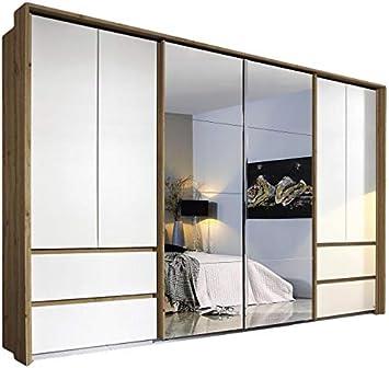 Armario con puertas correderas (8 puertas, 368 cm), color blanco y marrón: Amazon.es: Hogar