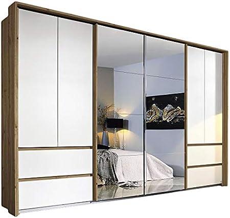 Armario de puertas correderas, color blanco/marrón, 8 puertas, 368 cm, para dormitorio juvenil, con espejo, armario con puertas correderas: Amazon.es: Hogar