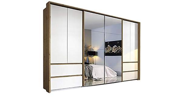 Armario con puertas correderas (8 puertas, 368 cm), color blanco y ...