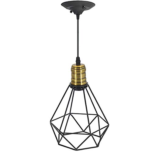 Kitchen Island Pendant Lighting Oil Rubbed Bronze Vintage Wire Pendant Light Cage Polygon Style Chandelier Art Deco for Kitchen-island, Hallway, Dining-room, Cafe, Bar (Polygon Island Light)