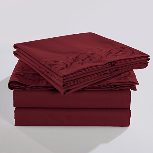 Embroidered Microfiber Resistant Egyptian Burgundy product image