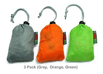 PATENT PENDING : EcoJeannie 3 Pack Large Super Strong Ripstop Nylon Foldable Daw-String Reusable Shopping Bag, Grocery Tote Bag with Built-In Pouch and Inner Pocket, and Reinforced Handle