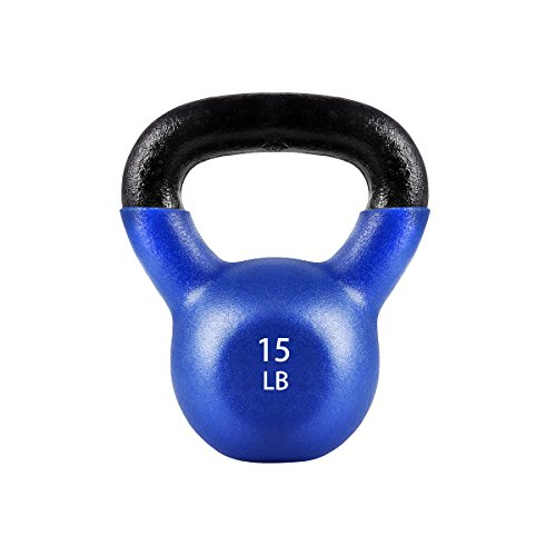 FEIERDUN Vinyl Coated Kettlebells for Fitness Workout ,Home Exercise Blue 15lb
