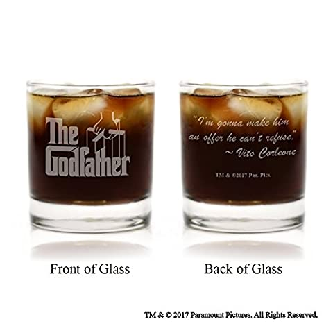 Movies On Glass - The Godfather Movie Engraved Logo Whiskey Glass Set of 6 with Quotes (Cosa De U??as)