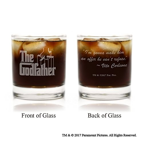 Movies On Glass - The Godfather Movie Engraved Logo Whiskey Glass Set of 6 with Quotes by Godparent baptism gifts