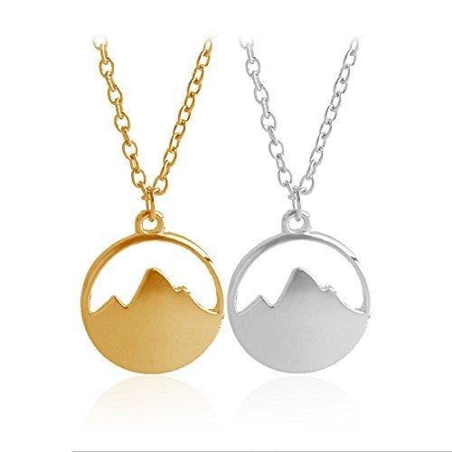 Retro Womens Mens Alloy Multilayer Dainty Mountain Charm Necklace Wanderlust Mountain Climbing Hiking Pendant Lush Jungle Deep Forest Mountain Peak Ridge Jewelry