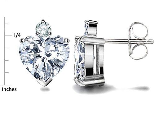Star K Sterling Silver Heart Shape 7mm Earring Studs