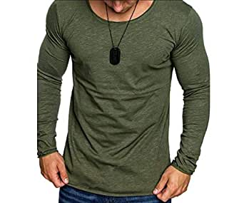 Howely Men's Lightweight Long Sleeve Gym Training Jersey Slim Fit Shirts Army Green 2XL