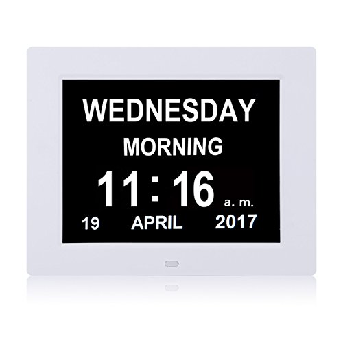 Large Digital Clock -The Original Memory Loss Digital Calendar Day Clock with Extra Large Non-Abbreviated Day & Month.8'' Clock Perfect For Visually Impaired Senior Living Offices Home