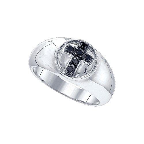 Sterling Silver Black Colored Diamond Cross Christian Wedding Anniversary Band 1/4 Cttw by JAWAFASHION