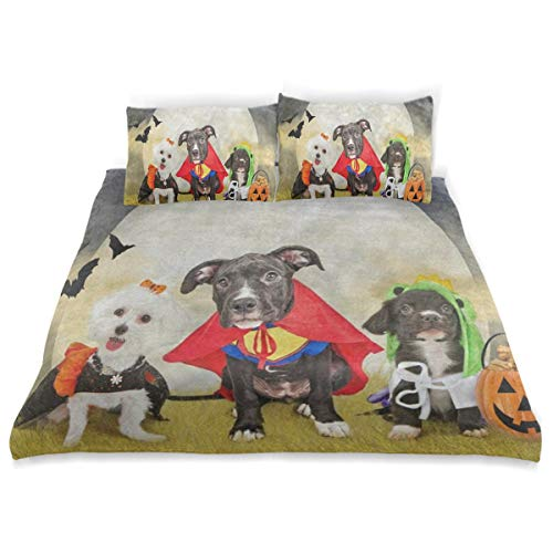 OSBLI Bedding Duvet Cover Set 3 Pieces Hipster Puppy Dog Dressed in Halloween Costumes Bed Sheets Sets and 2 Pillowcase for Teens]()