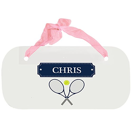 Personalized Tennis Wooden Door Hanger With Blue Ribbon by MyBambino