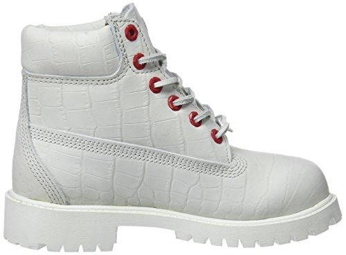 Timberland 6 Inch Premium Waterproof, Botas Clasicas Unisex Niños Blanco (White Cardinal Exotic 100)