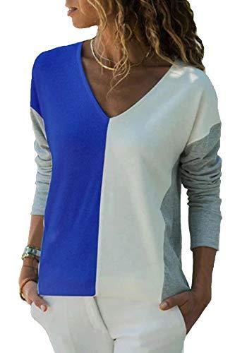 YOINS Sexy Oberteil Damen Sommer T Shirt Damen Farbblock Blusen Oberteile Farbverlauf Colorblock Bluse Cross Front