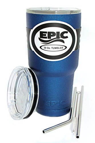 EPIC Blue Textured Insulated Travel Tumbler Custom Powder Coated Cup and Coffee Mug with 2 Lids and 2 Stainless Steel Straws with Brush, 30 oz - Blue Textured Tumbler