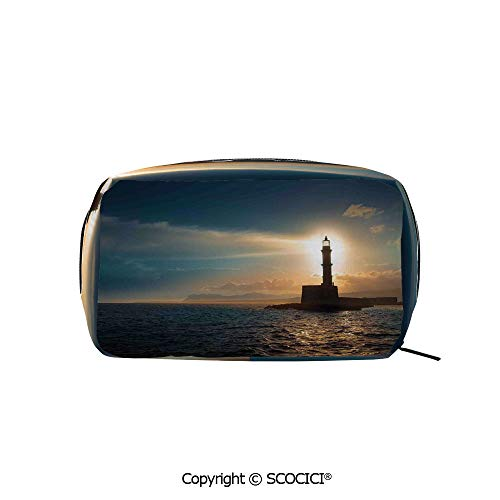 Rectangle Printed Beauty Cosmetic Bag Pouch Lighthouse Sunset Sunlights Romance Vacation Tourist Attractions Women fashion Toiletry Travel Bag