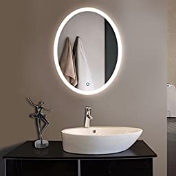 2432 in Vertical Oval LED Bathroom Silvered Mirror with Touch Button (D-CL054 )