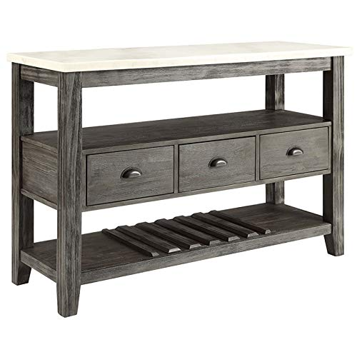 - Acme Merel Marble Top Wine Rack Server in White and Gray Oak