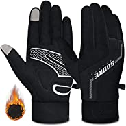 Souke Sports Winter Cycling Gloves Men Women Thermal Touch Screen Padded Bike Gloves Water Resistant Windproof