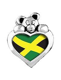 Jamaica Flag Light Rose Crystal October Birthstone I Love You Heart Care Bear Charm Beads Bracelets