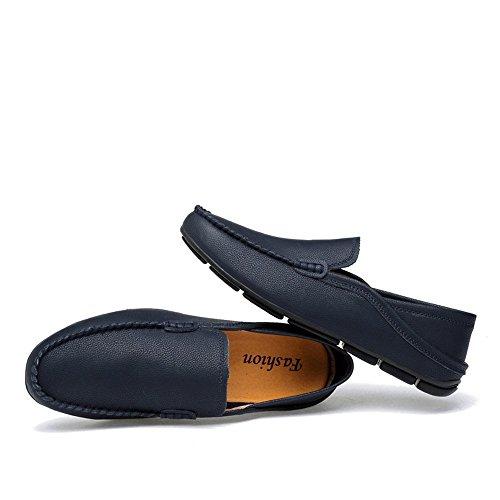 47 Color 2018 shoes traspirante Blu uomo foderati Scarpe in EU Da pelle Mocassini Mocassini e Uomo barca da mocassini leggeri vera casual per rinfrescanti Dimensione da Shufang p4qBq