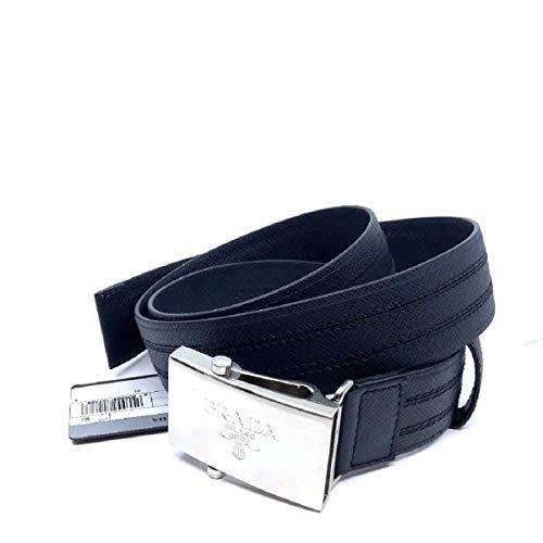 Prada Men's Logo Engraved Plaque Saffiano Leather Belt Blue 36 90 2CM009 (Prada Logo)