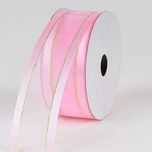 3/8'' Colors Pink Organza w/Metallic Gold Satin Edge Ribbon Gift Wrap Arts and Craft 25 Yards 3/8' Satin Edge Organza Ribbon