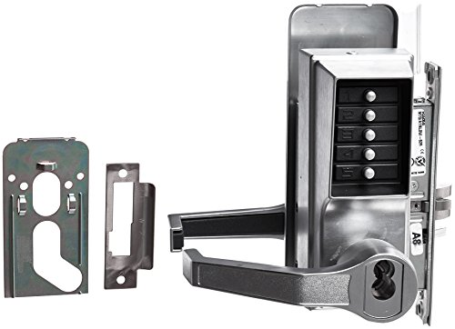 Kaba Simplex 8100 Series Metal Left Handed Mechanical Pushbutton Mortise Lock with Lever, Combination Entry, Key Override, Passage, Lockout, R/C Schlage, Core Not Included, Satin Chrome Finish by Simplex