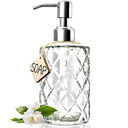 JASAI Diamond Design 12 Oz Glass Soap Dispenser, Kitchen Soap Dispenser with 304 Rust Proof Stainless Steel Pump, Bathroom Soap Dispenser for Hand Soap, Soap, Lotion(Clear) ()