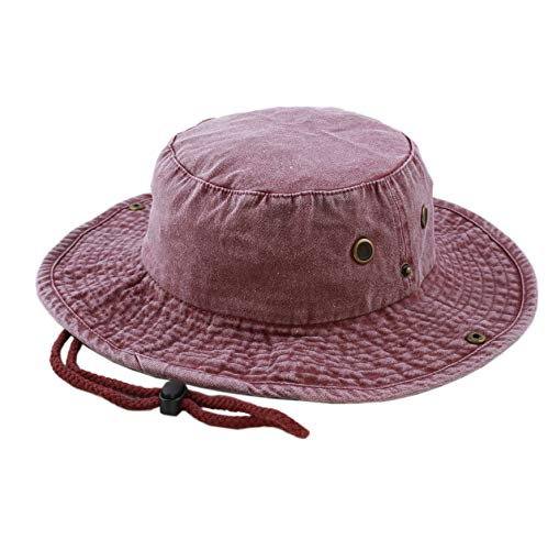 THE HAT DEPOT 100% Cotton Stone-Washed Safari Wide Brim Foldable Double-Sided Outdoor Boonie Bucket Hat (S/M, Pigment - Burgundy) -