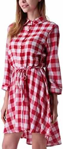 04f299c697f MAVIS LAVEN Women s Long Sleeve Plaid Shirt Dress High Low Tunic T Shirt  Dress