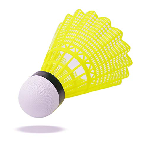 Colletia 12-Pack Shuttlecocks Goose Feather Badminton Plastic Nylon Birdies Balls High Speed Great Durability and Stability for Outdoor Indoor Sports Training (Nylon Yellow 12pcs)