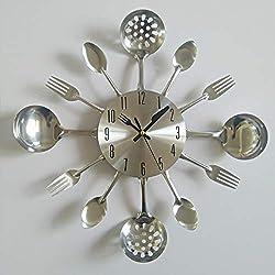 ptk12 Wall Clocks Wall Modern Needle Clock Knife Clocks Kitchen The Decoration Quartz Metal Mute nrushed 1 PCs