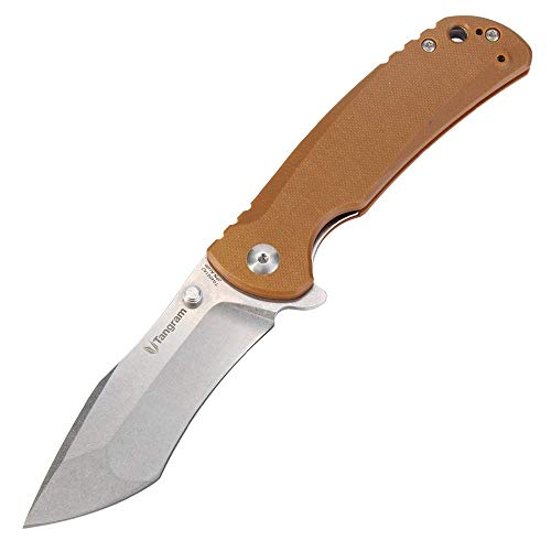 TANGRAM Folding Knife,Pocket Knife, New Version of TG4001A2 Rumble,g10 Handle,Outdoor Tactical Hunting Knife,Bushcraft,Keychain Hold,AUTO440C Blade