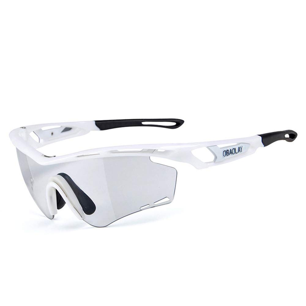 YFFS Outdoor Cycling Polarized Sunglasses Intelligent Myopia Discoloration Cycling Glasses Polarized Light (颜色 Color : White)