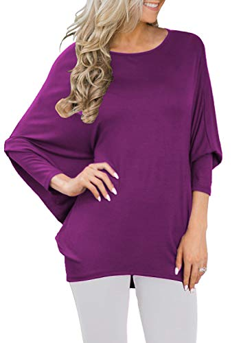 MIHOLL Women's Sexy Long Batwing Sleeve Loose fit Casual Top Blouse T-Shirt (Medium(US4-8), Purple)