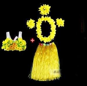 AMEA Wreath dress skirt -(set of 6pcs) masquerade dress skirt Hawaii skirt , yellow , 60cm