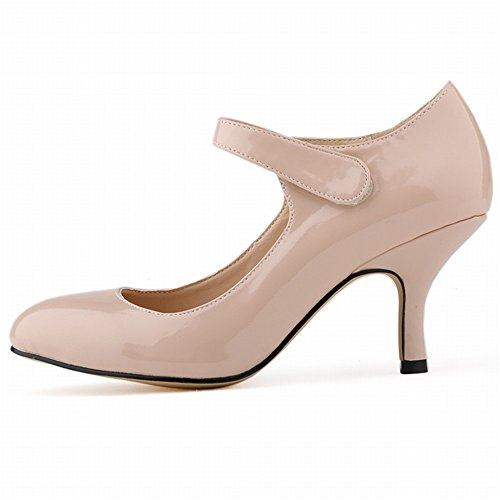 Pumps Shallow Pointed Heel High Color 24XOmx55S99 Toe apricot Mouth Solid Shoes Womens TZvxnp