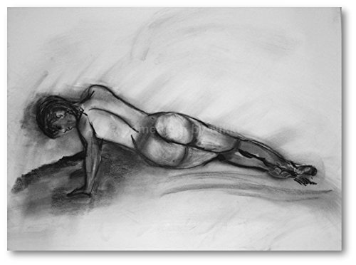 Nude Art Charcoal Drawing, Nude Women Sketch, Large Original Drawing, Female Figure Drawing, 24x18 by Something by Nikki