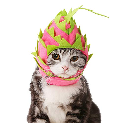 NACOCO Cat Pitaya Hat Dog Halloween Fruit Headwear Pet Cute Cap Costume Party Dress Up (S)]()