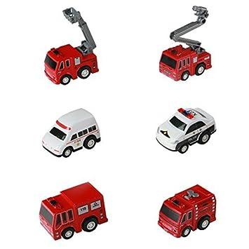 Camion Del Pompieri Fuoco Di Soccorso Pull Back Auto Con Manual Da Colorare Della Polizia Mini Veicolo Antincendio 6 Pezzi Set Per Bambino