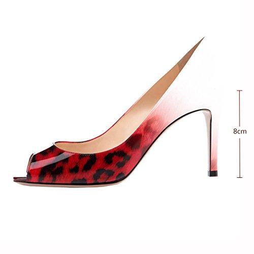 Talon Talon Mariage Escarpins elashe Femms de Toe Soirée Femme Bout 8CM Rouge Escarpins Escarpins Léopard Peep Haut Ouvert qgZEAZnxS