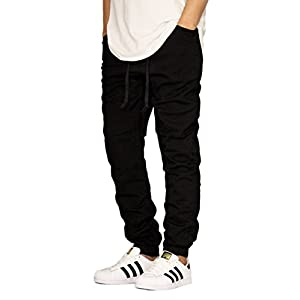 Victorious Men's Black Twill Drop Crotch Jogger Pants