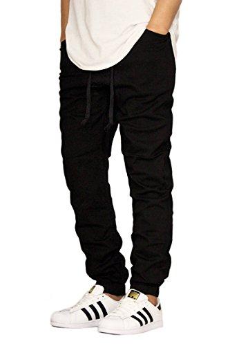 MEN'S BLACK TWILL DROP CROTCH JOGGER PANTS (5XL)