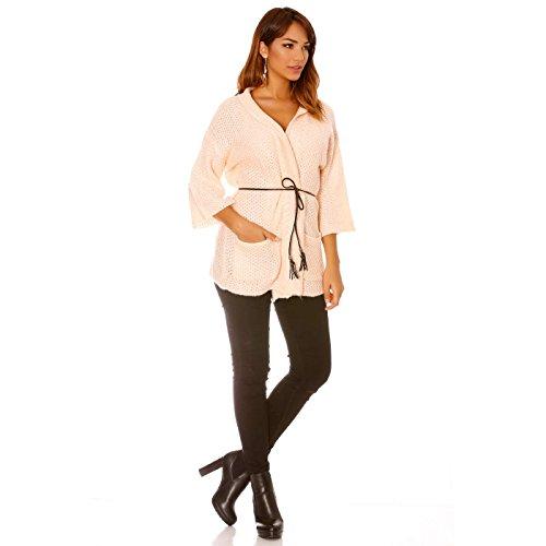 Miss Wear Line gilet rose en tricot avec ceinture