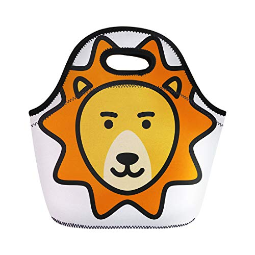 Semtomn Lunch Bags Emblem Africa Wild Lion Animal Badge Cat Collection Creative Neoprene Lunch Bag Lunchbox Tote Bag Portable Picnic Bag Cooler - Tattoo Icon Supply Power