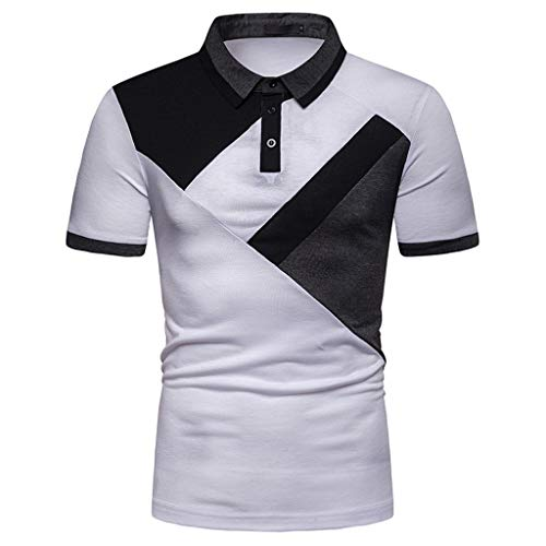 - TANGSen Fashion Men's Casual Top Short Sleeve Stand Spring Summer Button Patchwork Shirt Tops Polo Blouse 926 White