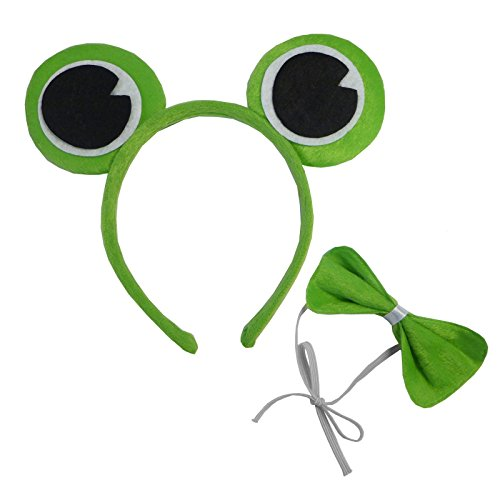 Kermit Green Frog Prince Head Band Ears Bow Tie Toad Fancy Dress Set Adult Child ()