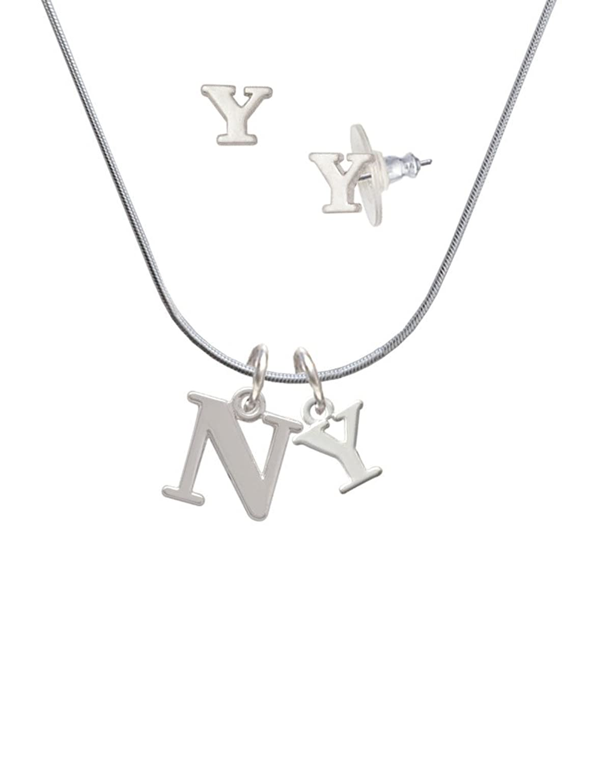 high quality Greek Letter Nu Y Initial Charm Necklace