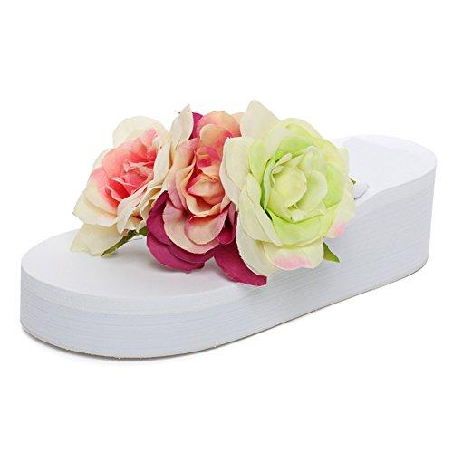 Fereshte Womens Bomullstyg Blomma Flipflops Lätta Plattform Strand Sandaler 1455-white